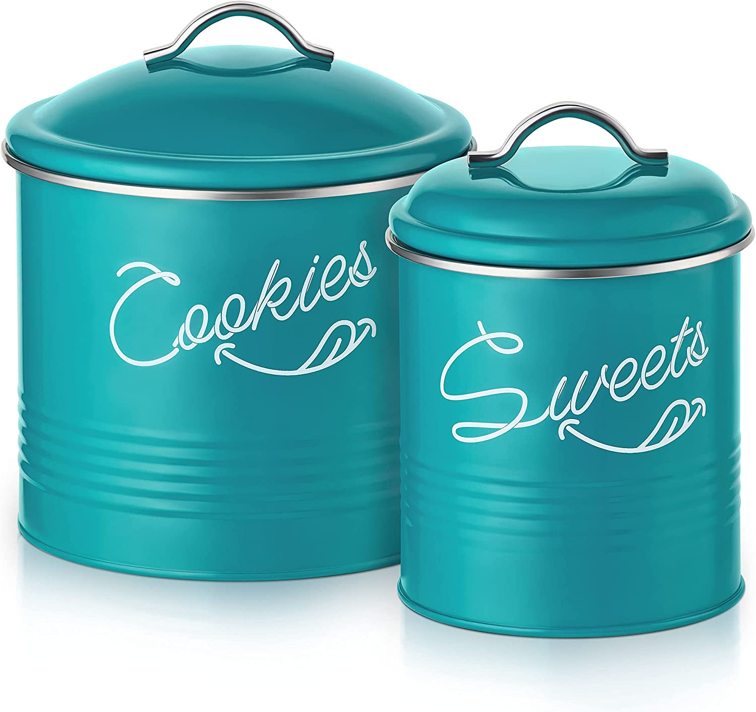 Candy Jar & Cookie Jar for Kitchen counter   Farmhouse Kitchen Jars for Storage of Your Favorite Treats   Large & Medium Canisters Set of Two Cookie & Candy Jars with Lids   Airtight Jar by Nirgals