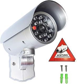 Cámara de seguridad falsa con luz LED roja sensor de movimiento en carcasa resistente a la intemperie cámara de seguridad falsa CCTV para interior y exterior