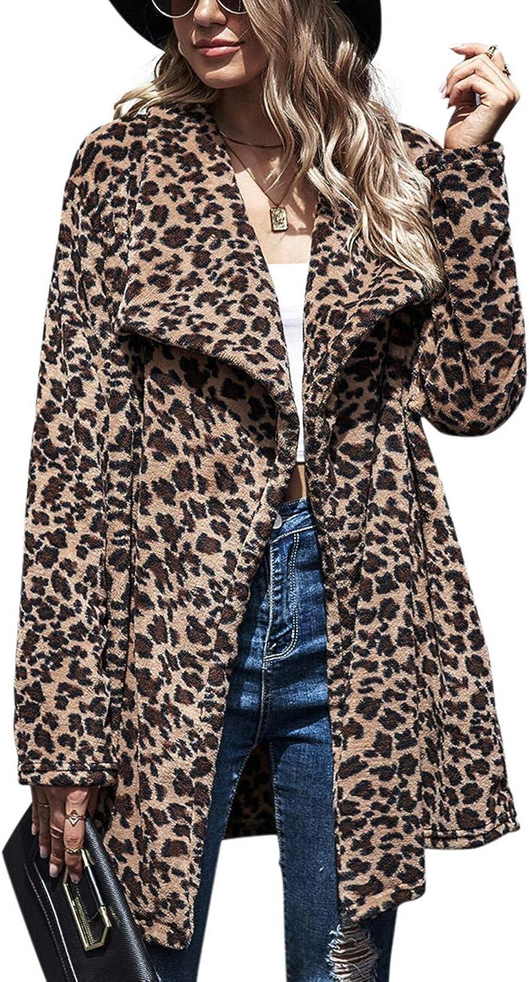 PAODIKUAI Women's Fluffy Faux Fur Cardigan Coat Long Sleeve Warm Lapel Winter Jacket