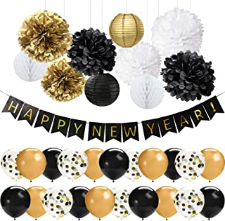 41 PCS Black Gold Happy New Year Decorations Set Happy New Year Banner 12 Inch Latex Balloons Tissue Pom Poms Flowers Paper Lanterns for New Years Eve Party Decorations 2020 New Year Party Supplies