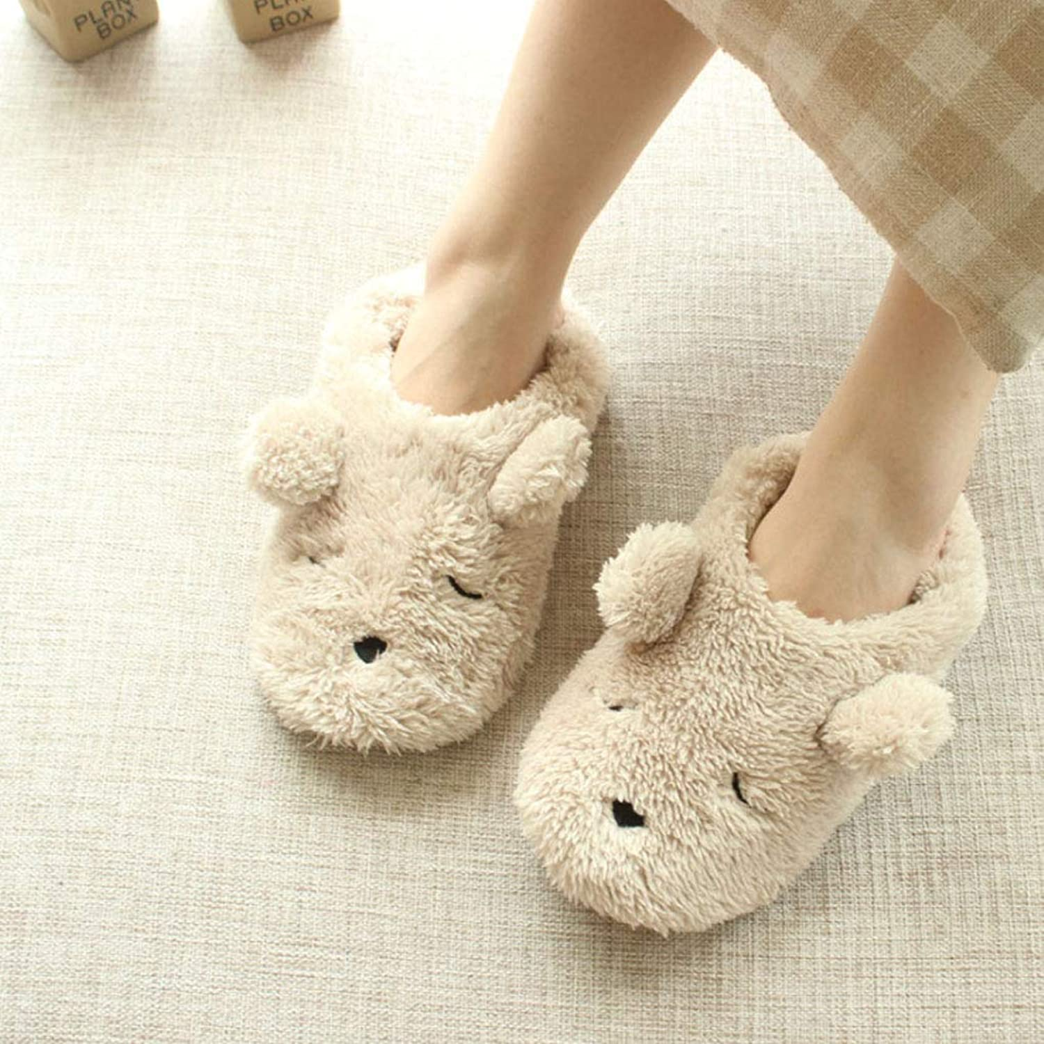CDDLR Womens Indoor Warm Fleece Plush Thermal Slippers Ladies Girls Cartoon Bear Non-Slip Footwear shoes Mules Home Indoor House Hotel Floor Slip-on Ankle Short Boots shoes Holiday
