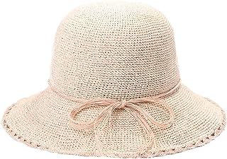 日よけ 女性用サンハットカジュアル洗面器キャップフィッシャーマンハット手織りバイザー麦わら帽子 おしゃれ (色 : Milk white powder, サイズ : 58.5cm)