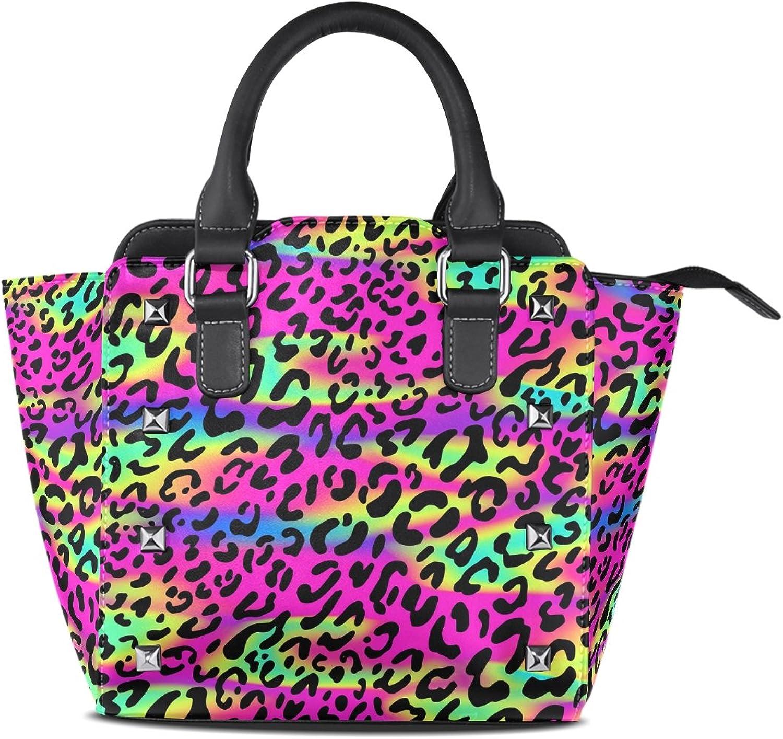 My Little Nest Women's Top Handle Satchel Handbag Animal colorful Leopard Pattern Ladies PU Leather Shoulder Bag Crossbody Bag