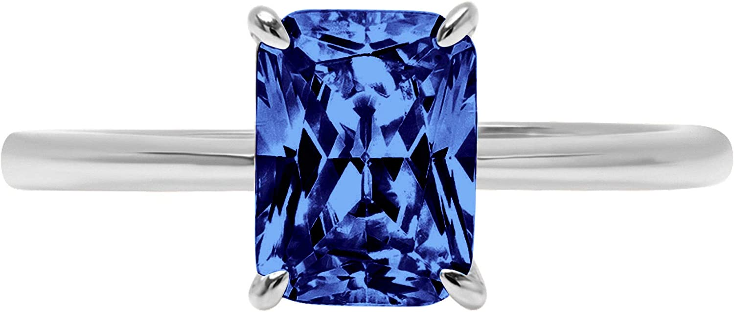 Max 89% OFF 1.7 Brilliant 2021 Radiant Cut Solitaire Flawless Simulated T Blue CZ