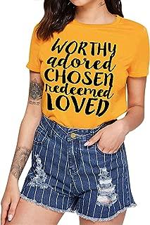 ZJP Women Worthy Adored Chosen Redeemed Loved Letter Print Tops Short Sleeve Tee