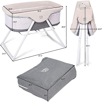 Oxford Carry Bag Included Zippered Breathable Mesh Side HOMGX Rocking Bassinet 2 in 1 Lightweight Travel Cradle w//Detachable /& Washable Mattress Beige + Gray Portable Crib for Newborn Baby