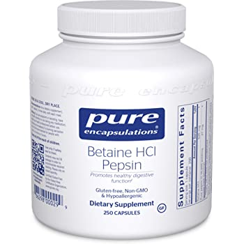 Pure Encapsulations - Betaine HCl/Pepsin - Hypoallergenic Dietary Supplement to Support a Healthy Digestive Tract - 250 Capsules