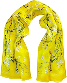 Women's SILK Scarf 100% Pure Luxury Lightweight Long Scarf - Almond Blossom Painting by Van Gogh (Yellow Version), Art on ...