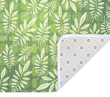 EGGDIOQ Doormats Seamless Leaf Pattern Custom Print Bathroom Mat Waterproof Fabric Kitchen Entrance Rug, 23.6 x 15.7in