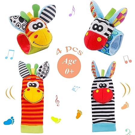 Baby Rattle Neonato 4 Pezzi Sonaglio da Polso per Neonati e Calze Piedi Simpatici Animaletti Developmental Toys sonagli Neonato 0-12 Mesi Bambini (Arancia)