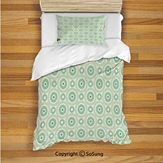 Mint Kids Duvet Cover Set Twin Size, Retro Disc Shaped Inner Circles with Nostalgic Featured Geometric Graphic 2 Piece Bedding Set with 1 Pillow Sham,Seafoam Almond Green
