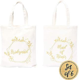 حقائب إشبينة العروس من Pop Fizz Designs | 5 حقائب لإشبينة العروس | 1 حقيبة حمل Maid of Honor (6 عبوات)