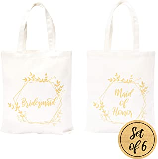 Pop Fizz Designs Bridesmaid Bags | 5 Bridesmaid Tote Bags | 1 Maid of Honor Tote Bag (6 Pack)