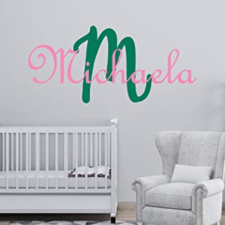 Personalized Girl's Name And Initial Wall Decal, Choose Your Own Name, Initial And Letter Styles, Multiple Sizes, Nursery Custom Name And Initial Wall Decal Sticker, Wall Decal Sticker, Vinyl Decor