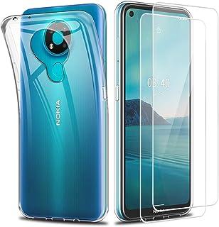 Reshias Funda para Nokia 3.4, suave, transparente, de silicona, con dos protectores de pantalla de cristal templado para N...