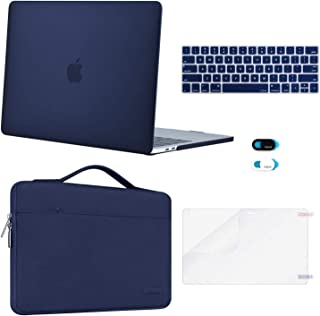 MOSISO MacBook Pro 13 inch Case 2019 2018 2017 2016 Release A2159 A1989 A1706 A1708, Plastic Hard Case&Sleeve Bag&Keyboard Skin&Webcam Cover&Screen Protector Compatible with Mac Pro 13, Navy Blue