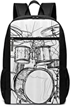 EHRJIF Graffiti Sketch Style Drummer Music Inspired Monochrome SchoolComputer Bookbag for Women, Men, Outdoor CampingFits Up to 17-inch Notebook Backpack