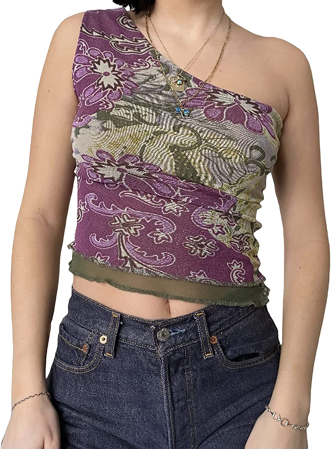 Crop Tops for Women Y2K Sexy One Shoulder Sleeveless Vest Basic Slim Bodycon Tees Fashion Exposed Navel Tops (Purple, Large)