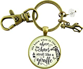 Giraffe Keychain She Knew When To Rise Above The Chaos Boho Style Bronze Pendant Womens Friendship Jewelry Charm