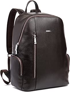 BOSTANTEN Men's Leather Laptop Backpack Shoulder School Camping Travel Sports Bag Coffee