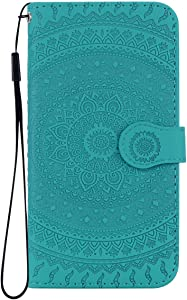 Reevermap iPhone Max Case Leather  Protective Wallet Flip Embossed Mandala Premium Kickstand Magnetic Buckle Notebook Cover for iPhone Max  Green