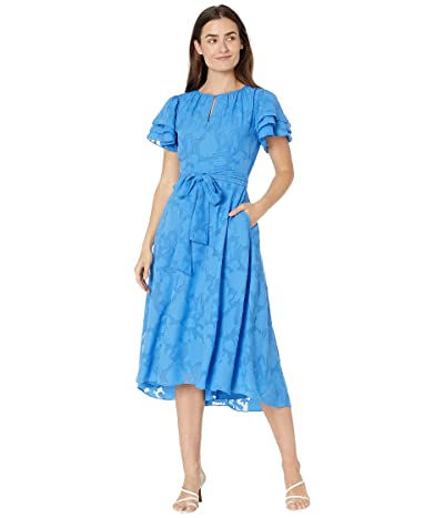 Tahari by ASL Clipped Floral Chiffon Dress with Tiered Sleeve Detail