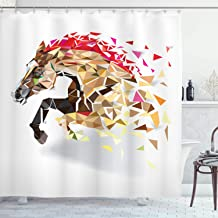 Ambesonne Diamond Shower Curtain, Disappearing Wild Horse in Digital Polygonal Geometric Modern Design Cubism Art, Cloth Fabric Bathroom Decor Set with Hooks, 84 Long Extra, Brown Red