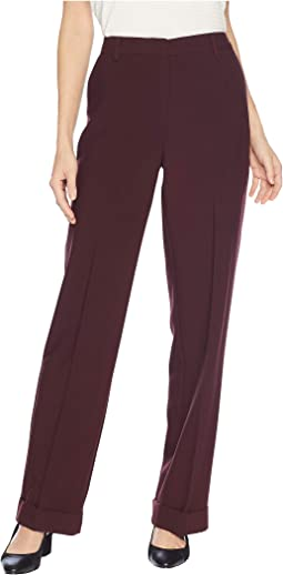 Bi-Stretch Crepe Wide Leg Cuffed Pants