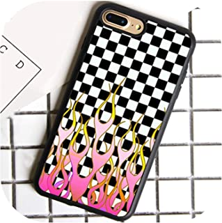 Checkered Checkerboard Flame Phone Case for iPhone 7 8 6 6S Plus X 5 5S Se Cover TPU Black Case for iPhone Xr Xs Max,for iPhone 7 Plus,7000,7000,Foriphone7Plus
