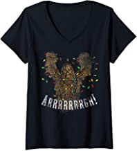 Womens Star Wars Chewbacca Roar Christmas Lights V-Neck T-Shirt
