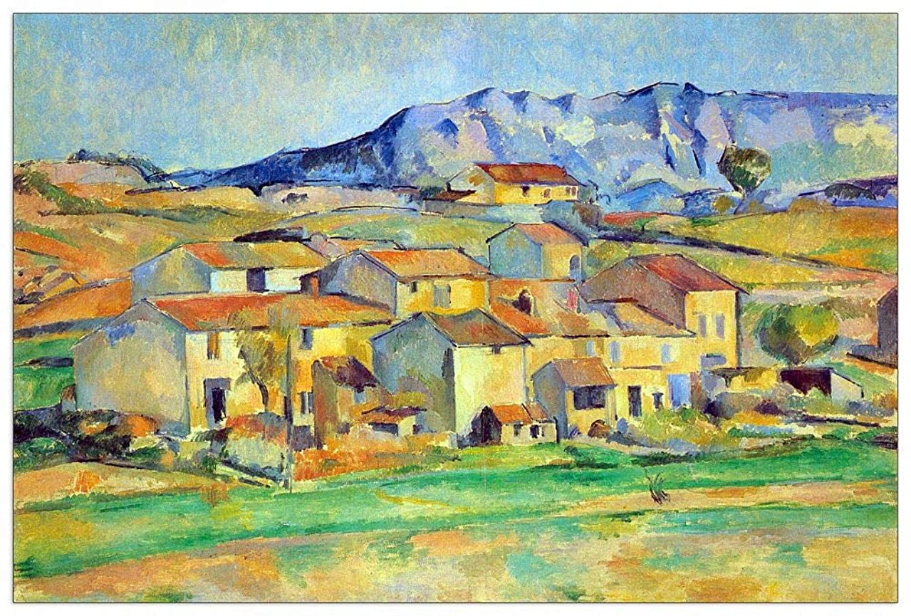 ArtPlaza TW92142 Cezanne Paul - Montaigne Sainte-Victoire, from The Environment beu Gardanne of View Decorative Panel 39.5x27.5 Inch Multicolored