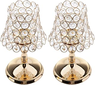 MonkeyJack 2 Pieces Bling Crystal Desk Lamp Votive Tealight Candle Holders Wedding Centerpieces Candle Stand for Anniversary Birthday Christmas Xmas Decor Gifts