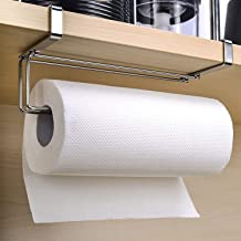 Kitchen Roll Hanger, HOME-MART Stainless Steel Paper Towel Rack Kitchen Towel Rack Bathroom Cabinet Toilet Paper Rack Meta...