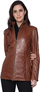 Carolyn Women's Pure Leather Jacket | Natural Distressed Zipper Closure Leather Jackets