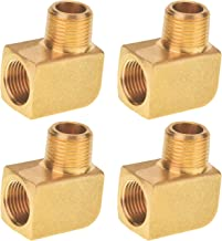 SUNGATOR 4-Pack Brass Pipe Fitting, 90 Degree Barstock Street Elbow, 3/8