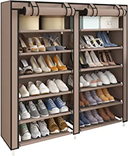 UDEAR Armoire/Meuble à Chaussures avec Housse en Toile 6 Couches étagère Chaussures avec Zip Marron