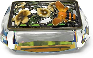 Kubla Crafts Enameled Honeybee and Flowers on Cut Glass Trinket Box, Accented with Austrian Crystals, 3.25 Inches Long
