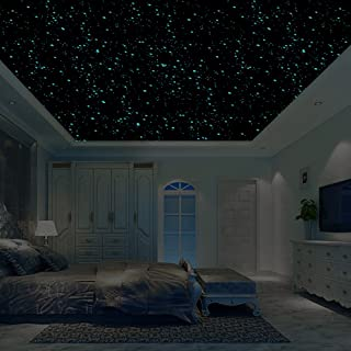 Realistic 3D Domed Glow in The Dark Stars,606 Dots for Starry Sky, Perfect for Kids Bedding Room Gift(606 Stars) (Blue)
