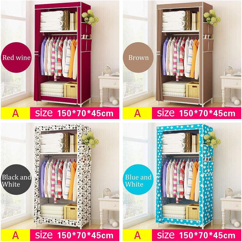 LiChenYao Simple Cloth Wardrobe, Non-Woven Steel Tube, Small Wardrobe, Storage Cabinet (color   Red Wine, Size   A)