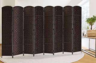 Extra Wide-Diamond Weave Fiber Room Divider, 8 panel room divider/screen,room dividers and folding privacy screens 8 panel&Room dividers and folding privacy screens-Dark Coffee 8 Panels