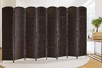 Extra Wide-Diamond Weave Fiber Room Divider, 8 panel room divider/screen,room dividers and folding privacy screens 8 panel&Room dividers and folding privacy screens-Dark Coffee 8 Panels