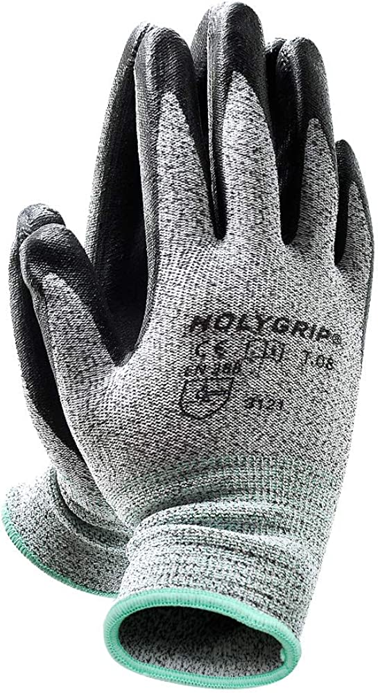 Level 5 Cut Resistant Work Gloves with 3D Comfort Strech Fit and Power Grip Coated Palm