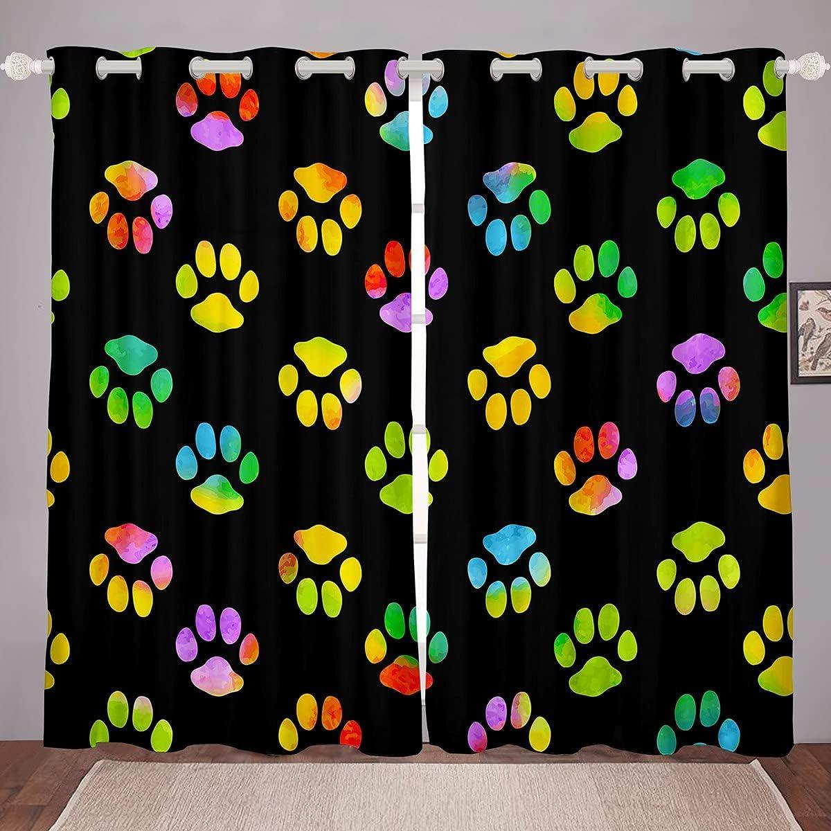 Paws Fashion Window Drapes Austin Mall Colorful Cat Dot Paw Treatment Kitchen