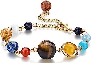 Fesciory Women Girls Solar System Bracelet Universe Galaxy The Eight Planets Guardian Star Natural Stone Beads Bracelet Bangle for Men