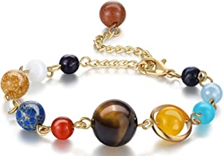 Fesciory Women Solar System Bracelet Universe Galaxy The Eight Planets Guardian Star Natural Stone Beads Bracelet Bangle for Men
