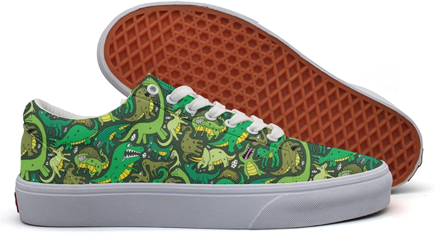 Cute Dinosaur Costume Green Women's Casual Sneakers shoes Slip-On Athletic Spring Vegan