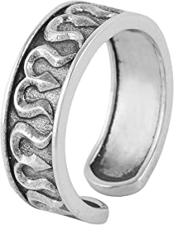 Fourseven Jewelry Pure 925 Sterling Silver Adjustable Open Wrap Ring | Trishul Band Ring for Men and Women