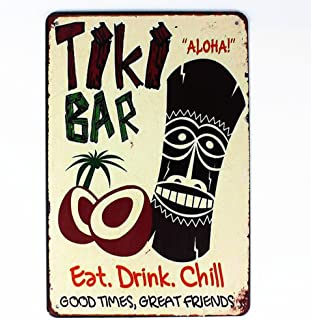 Mega-Deal Tiki Bar Eat Drink Chill Tin Sign Metal Wall Plaque 12