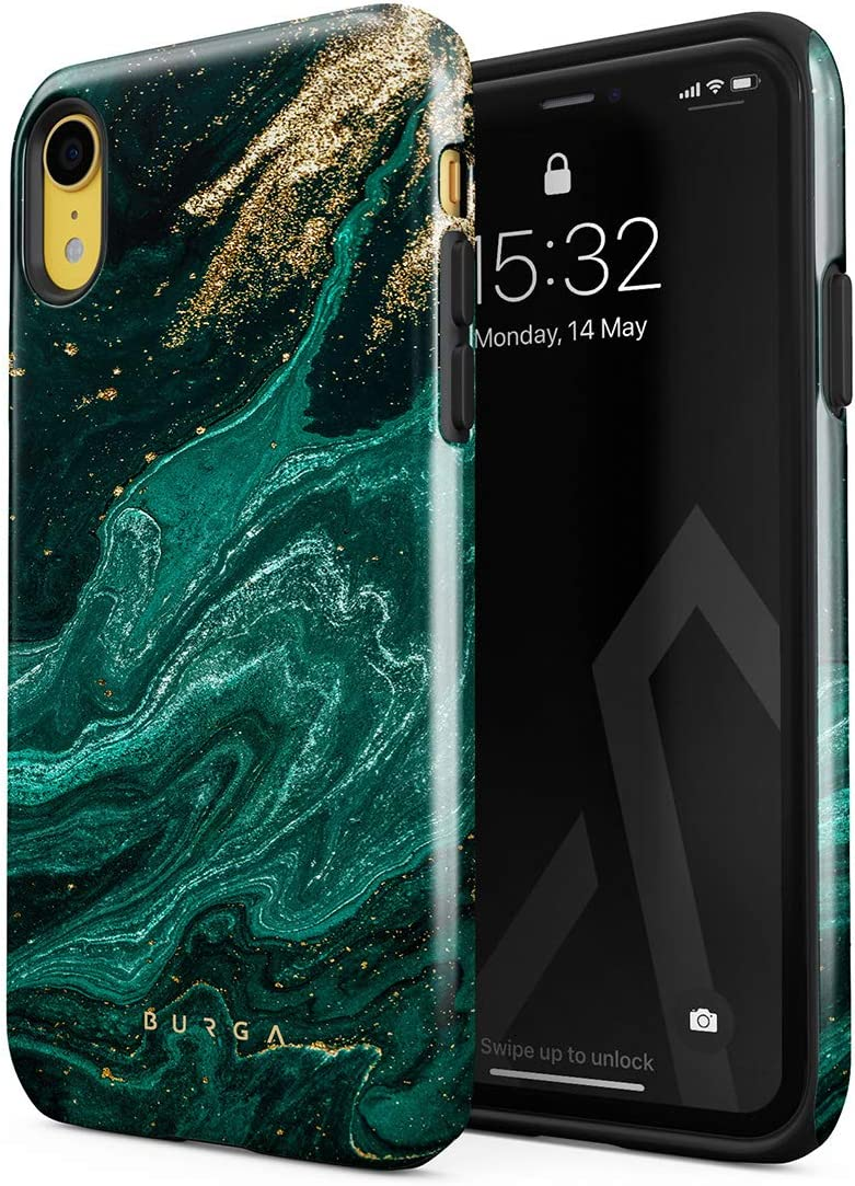 BURGA Phone Case Compatible with iPhone XR - Emerald Green Jade Stone High Fashion Luxury Gold Glitter Marble Cute for Girls Heavy Duty Shockproof Dual Layer Hard Shell + Silicone Protective Cover