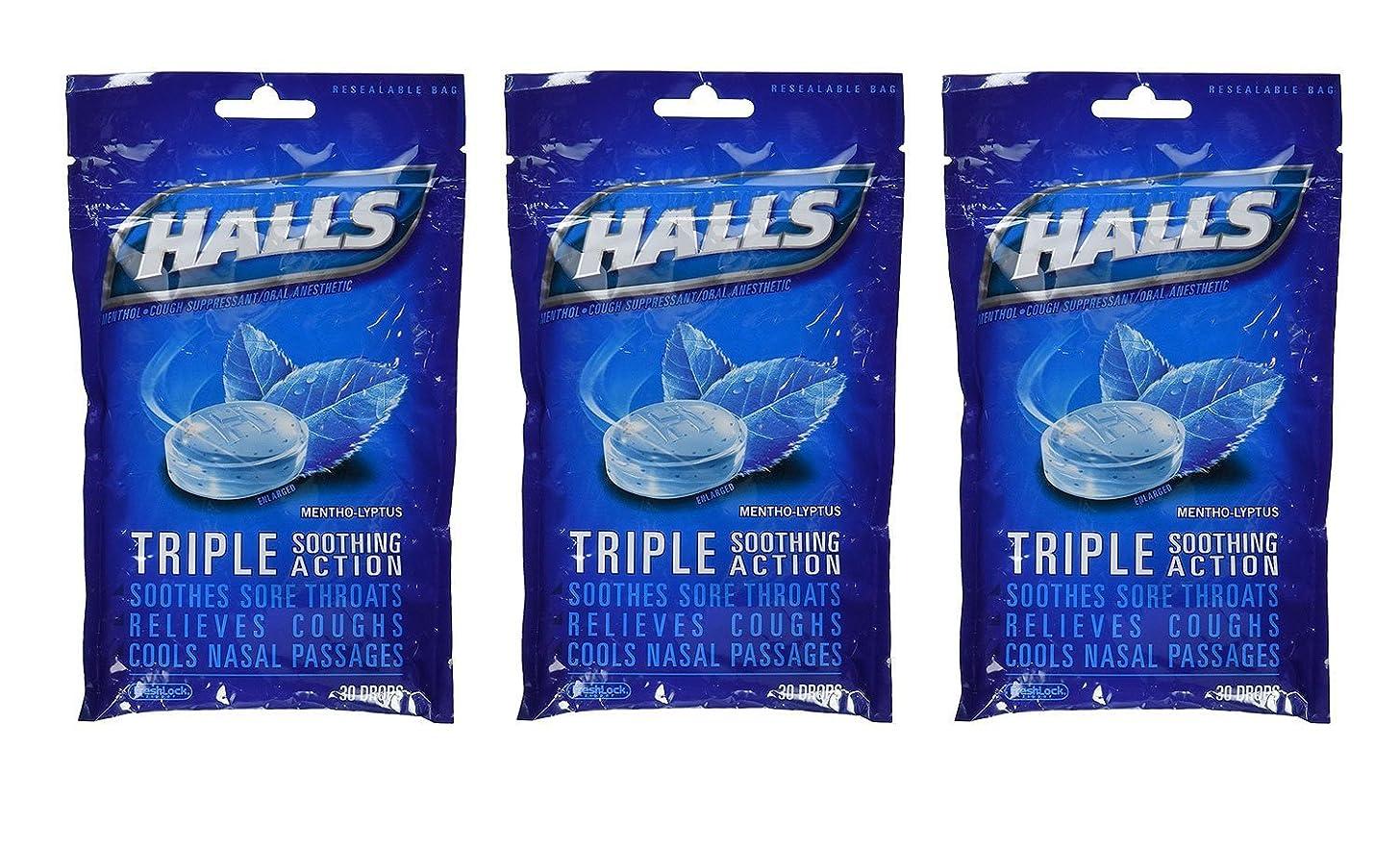 Halls Drops, Menthol-Lyptus, 30-Count Drops (Pack of 3)